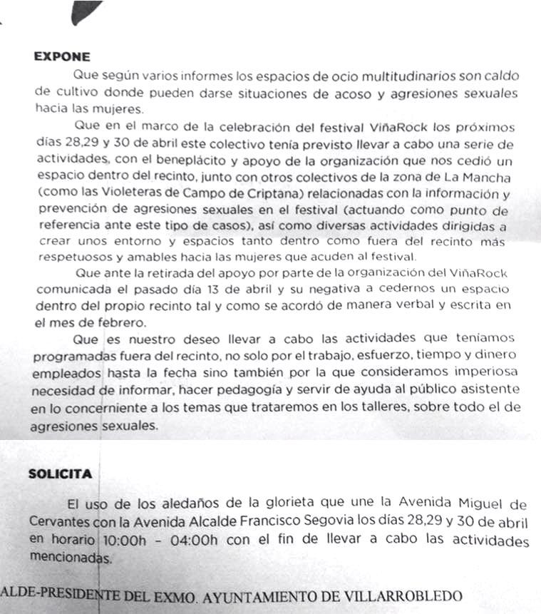 Solicitud de Espacio Público de Femirockers para los días del Viñarock